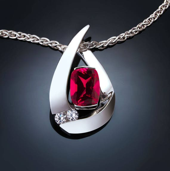 ruby necklace, ruby pendant, July birthstone, white sapphires, Argentium silver, Chatham ruby, fine jewelry, statement necklace - 3378