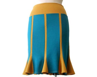 Turquoise Skirt, Pencil skirt, Jersey Skirt, Handmade Skirt, Stretchy Jersey Skirt, Knee Length Skirt, Yellow skirt, Womens skirt, Skirt