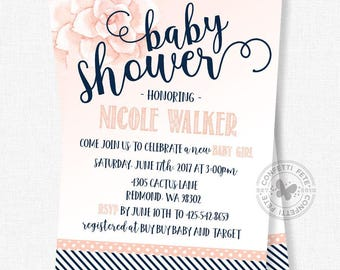 Succulent Baby Shower Invitation, Navy Blue and Coral Shower Invitation, Girl Baby Shower Invitation, Stripes and Polka Dots