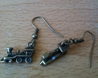 Mini steampunk train earrings