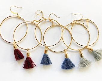 Hammered Hoops with Tassels