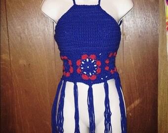 Crochet Flower Granny Square Halter Top With Tassels