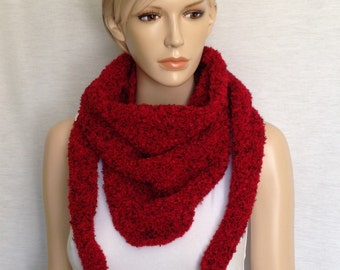 Handmade Red Knitted Scarf, Gift for Mum, Gift for Her, Gift Idea, Red Shawl, Red Wrap, Shawl, Wrap