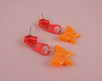Orange Zip Earrings, Orange Butterfly Earrings - neon orange zips, repurposed earrings, upcycled zippers, Harajuku Decora, retro 1980s 80s