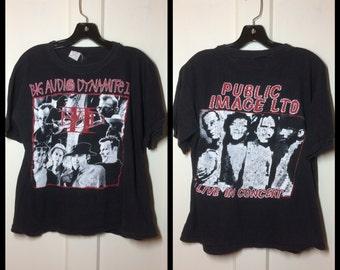 1980's Big Audio Dynamite the Clash Public Image Ltd Sex Pistols T-shirt size Large short 21x22 Punk Rock Johnny Rotten Mick Jones B.A.D. II