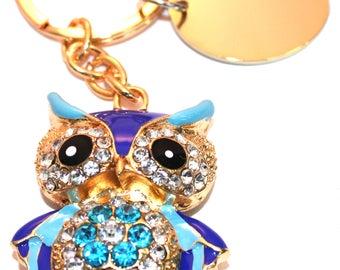 Engraved / personalised blue owl keyring / handbag charm with crystals BR410