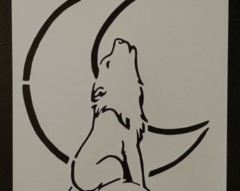Wolf Howling Howl at the Moon Custom Stencil FAST FREE SHIPPING