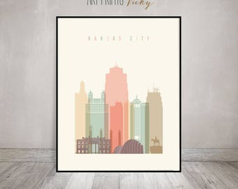 Kansas City print, Poster Wall art Kansas cityscape Kansas City skyline City poster Typography art Home Decor Digital Print ArtPrintsVicky