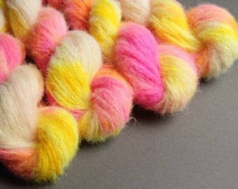 Fuzzy Lace - Brushed Baby Alpaca and Silk hand dyed fluffy laceweight yarn 25g - 'Sunset Beach' (neon yellow and pink variegated)