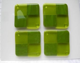 Green Fused Glass Coasters Set of Four Fused Glass Art Handmade Housewares