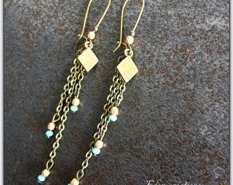 bronze earrings vintage, blue bead and dangling chains, bronze