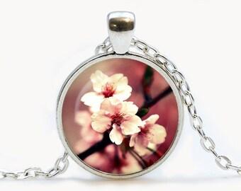 Sakura pendant. Cherry Blossom necklace. Flowers jewelry. Birthday gift