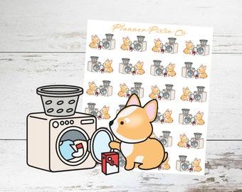 Corgi Planner Stickers // Laundry // Housework // Chores // 008