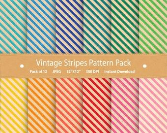 Striped Digital Paper Pack Vintage Stripes Scrapbooking Paper Vintage Scrapbook Paper Vintage Patterns Commercial Use Digital Backgrounds