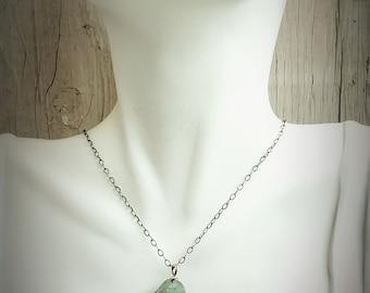 Necklace-Rough Cut Semi Precious Fluorite-Sterling Silver-Wire Wrapped