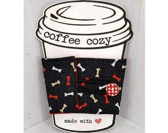 Coffee Cozy - Cup Sleeve - Fabric Drink Cozies - Gift for dog mom, dog walkers, dog groomer, teacher - Dog Bones
