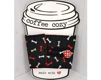 Coffee Cozy - Cup Sleeve - Fabric Drink Cozies - Gift for dog mom, dog walkers, dog groomer, teacher - Dog Bones