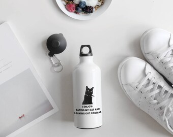 I Enjoy Eating My Cat Funny Grammar Quote with Cute Cat Photo, Water Bottle, Personalised Bottle, Cat Lovers, AB142