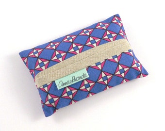 Pocket Tissue Holder, Pocket Tissue Cover, Blue Pink Geometric Tissue Holder, Ladies Tissue Case, Tissue Pouch,