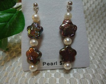 Flower and Round Pearl Earrings in Sterling Silver   #229   SALE!!!
