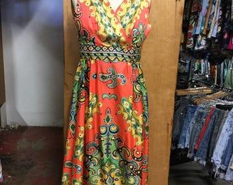1960's psychedelic Maxi Dress size medium