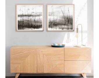 Abstract wall art Set of 2 prints, Black white minimalist wall art Gray bedroom decor, Zen art Eco home art nature photography prints, 24x24