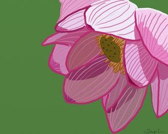 Art print of digital painting - Chinese water lotus, Chinese lotus flower, the lotus flower in chinese culture, pink lotus flower