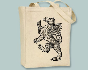 Ancient New Testament Dragon Illustration Natural or Black Canvas Tote - Selection of sizes available, Print in ANY COLOR