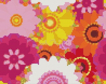 Floral Cross Stitch Kit, Summer Flowers Cross Stitch, Embroidery Kit, Floral Cross Stitch