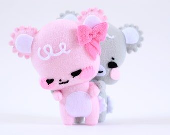 Two Sweet Sugar Cubs - Cute Plushie - Stuffed Animal - Anniversary Gift - Gift for Her - Teddy Bear - Pink Bear - Gray Bear