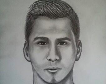Messi Digital Drawing Portrait
