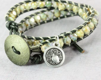 Aquarius Jewelry, February Birthday, Star Sign Bracelet, Zodiac Bracelet, Green Wrap Bracelet, Astrological Sign, Aquarius Bracelet