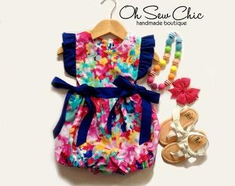 Watercolor Floral Romper - Flutter Sleeve Bubble Romper - Side Tie Romper - Toddler Playsuit - Summer Playsuit Baby
