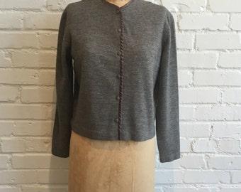 1960s Gray Jantzen Cardigan // 60s Heather Gray Button Front Sweater // Vintage 1960s Cardigan