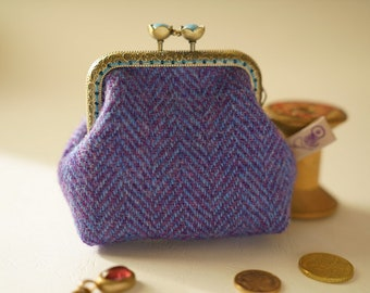 NEW Bronze metal frame coin purse/jewelry purse/pale blue pearls/purple and blue herringbone/Harris tweed/ Liberty tana lawn