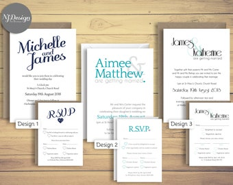 Wedding invitations RSVP cards A6