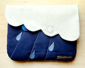Clutch Purse with Zip Pocket, Zip Pocket Purse, Vegan Purse, Clutch Bag, Raindrops Purse, Cloud Purse, Cloudy Days - White Dark Blue Color