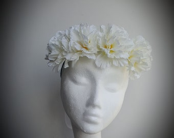 floral crown, festivals, bridal crown, floral headpiece, white carnations, bridesmaids, weddings, accessories, hair accessories, head wear.