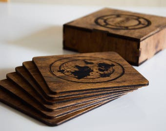 Personalized coaster set Custom wood coaster set Engraved coasters Sailor coaster set Wood engraved coaster set