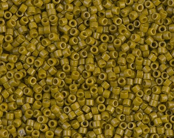 11/0 Duracoat Opaque Spanish Olive Miyuki Delica-2141, DB2141, Delica 2141, 6 Grams