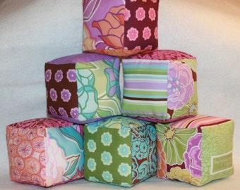 Girls Cloth Play Blocks, Urban Garden Pastels, Baby Girl Gift, Baby Shower Gift, Nursery Decor, Soft Blocks - Set of 6