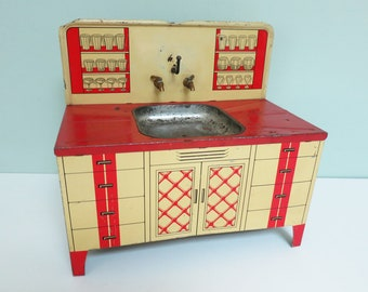 Vintage Wolverine Toy Sink with Metal Faucets, Red and Cream Litho, Faux Glassware on Shelves, Super Cute!