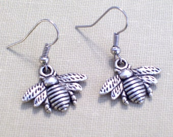 Antiqued Silver Bee Earrings, Insect Jewelry, Pierced Earrings, Bee Jewelry, Nature Earrings, Woodland Jewelry