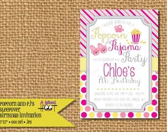 Popcorn and Pajama Slumber Party/Sleepover/Spend the night Birthday Party Invitation (Personalized, DIY, 5X7 Printable)