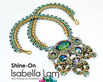 SHINE-ON Necklace with Beautiful center piece Pendant Beadwork Necklace Pdf tutorial instructions for personal use only