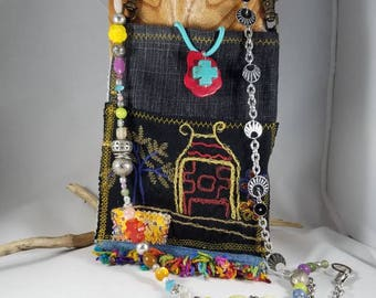 Tribal Embroidery Denim Boho Cell Phone Cross-body Handbag