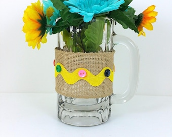 Burlap glass mug yellow and blue flowers with yellow trim 104