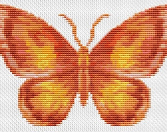 Butterfly Cross Stitch Chart, The Flame Butterfly Cross Stitch Pattern PDF, Art Cross Stitch, Butterfly Series, Embroidery Chart