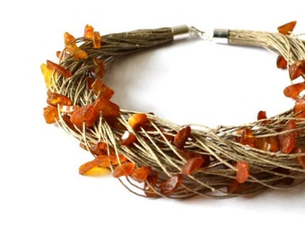 Raw Amber Necklace Natural Amber Linen Necklace, Yellow Brown Gemstone Natural Summer Gift