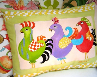 The Checkered Chicks Pillow Hand Painted Fantastical Whimsical Colorful Chickens Kiwi Green Yellow Checkered Border Original Decorative Art